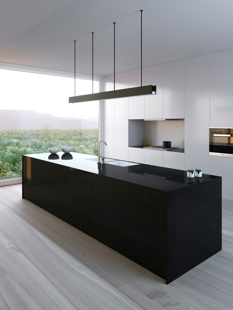 Example of a mid-sized minimalist single-wall open concept kitchen design in Other with flat-panel cabinets, white cabinets and an island