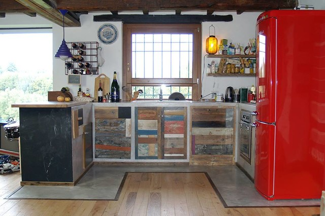 Cucina Legno Recupero, Lavagna e Ferro