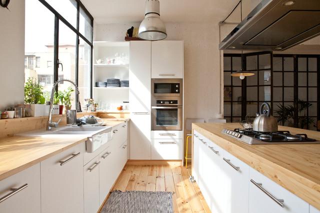 diseo de cocina lineal escandinava extra grande abierta con fregadero de doble