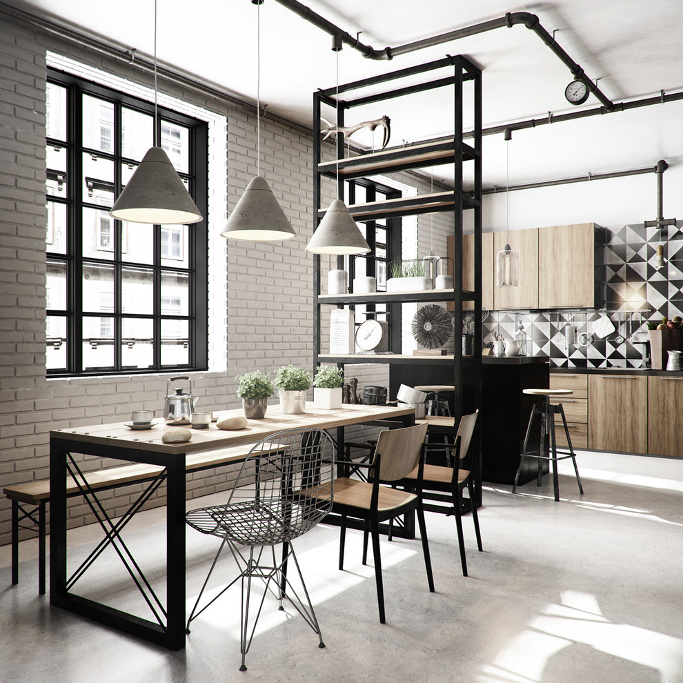 Inspiration for a mid-sized industrial kitchen/dining room combo remodel in Other with no fireplace and white walls