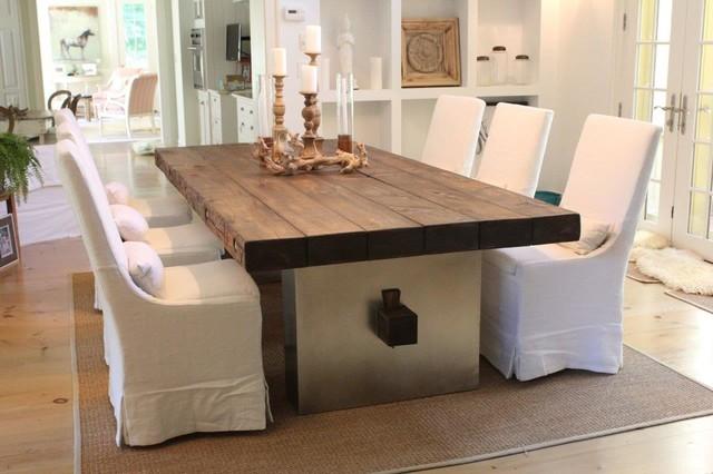 mesa comedor madera maciza con hierro eclectico comedor - Mesas De Comedor Madera