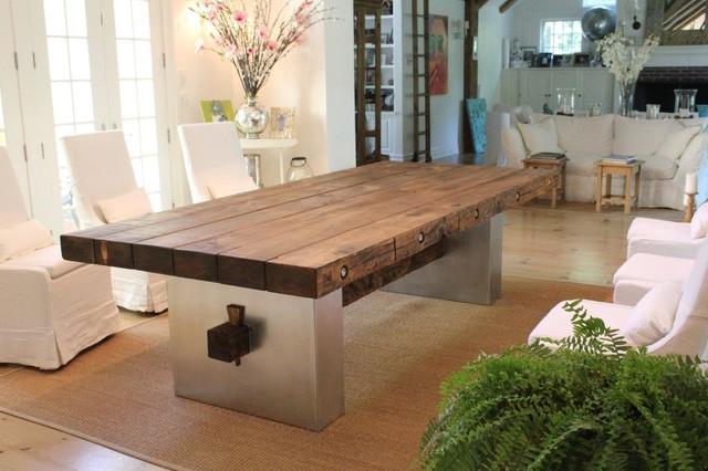 Mesa Comedor Madera Maciza con Hierro - Eclectic - Dining Room ...