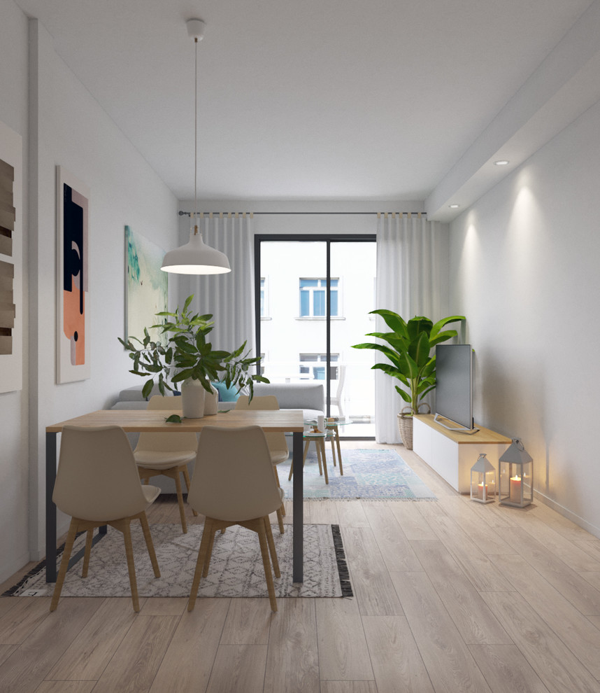 Inspiration for a small scandinavian medium tone wood floor great room remodel in Barcelona with white walls
