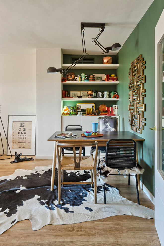 Mid-sized eclectic light wood floor great room photo in Malaga with green walls and no fireplace