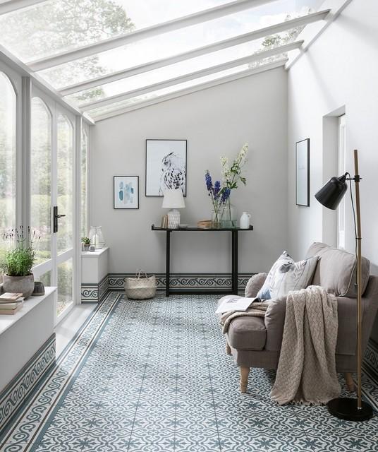 Berkeley Slate Blue Patterned Encaustic Tile Fusion Sunroom