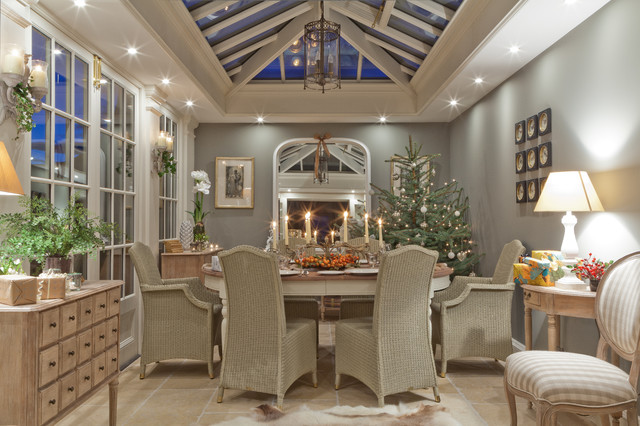 Christmas in a conservatory for Orangery lighting ideas