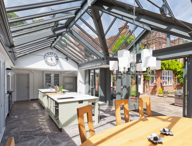 Large Kitchen Conservatory Contemporary Sunroom