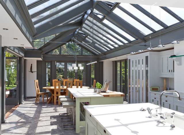 Large Kitchen Conservatory - Contemporary - Sunroom ...