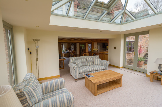 Linked Living Room Orangery Style With Woodburner Modern
