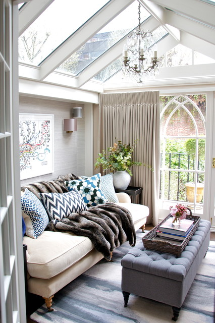 Photo of a classic conservatory in London with a glass ceiling.
