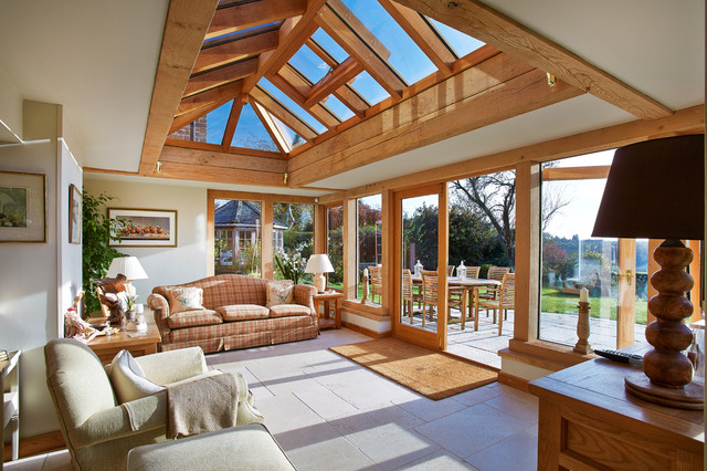 Oak framed garden room with roof lantern for Oak framed garden room