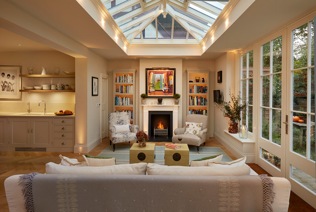 Open Plan Orangery Extension With Fireplace And Bespoke Dog Windows Transitional Conservatory