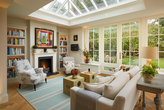 Open Plan Orangery Extension With Fireplace And Bespoke