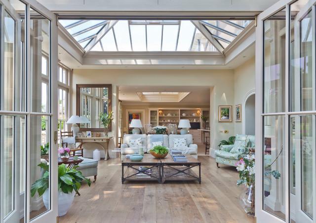 Orangery With Bi fold Doors Traditional Sunroom