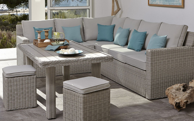 Praslin Rattan Effect Sofa Dining Table Contemporary Sunroom