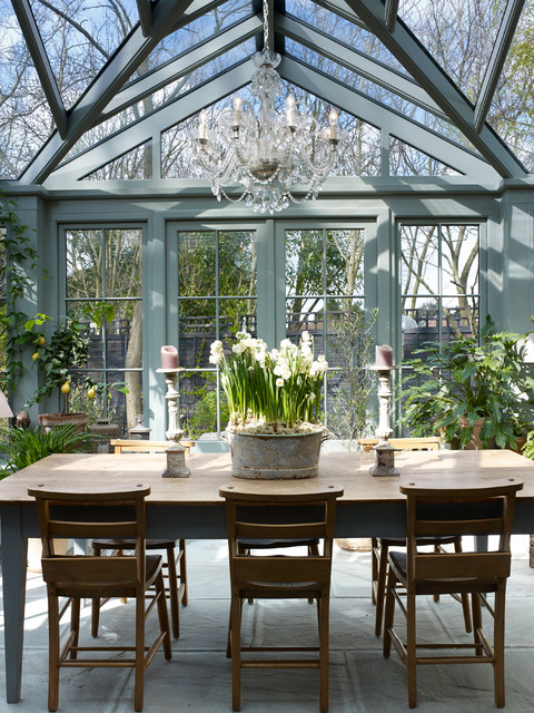 Esher grade 2 listed cottage traditional sunroom for Sunroom dining room ideas