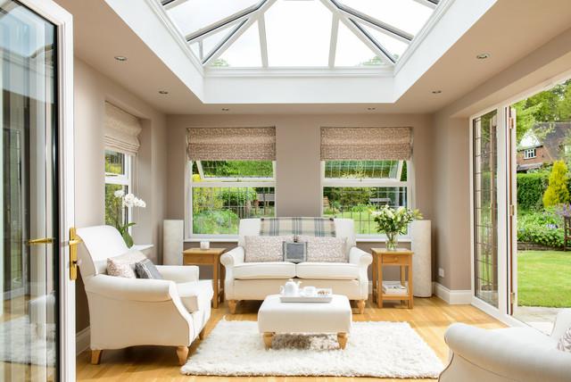 White Orangery With Upvc Lantern Roof Traditional Sunroom