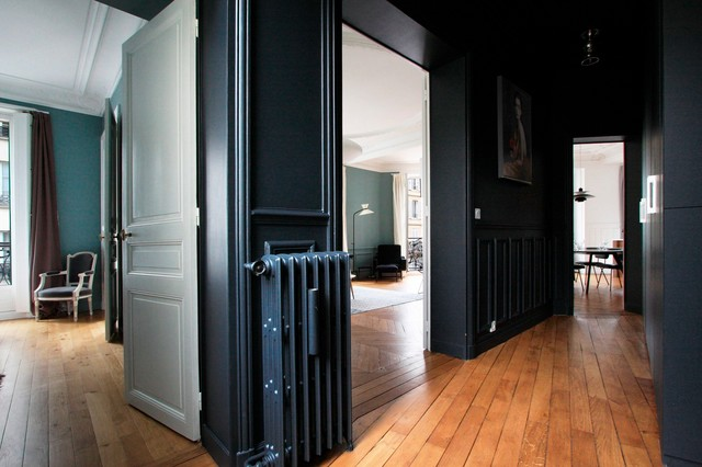appartement haussmannien contemporain couloir paris par ga lle cuisy karine martin. Black Bedroom Furniture Sets. Home Design Ideas
