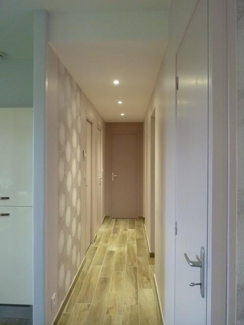 Couloir Avec Spots Faux PlafondModern Hallway U0026 Landing, Rennes
