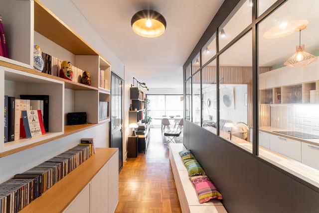 L - Rénovation d'un appartement de 68m² コンテンポラリー-廊下