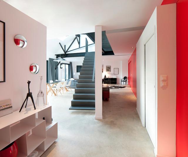 loft kh contemporary hallway landing nantes by atelier l2. Black Bedroom Furniture Sets. Home Design Ideas