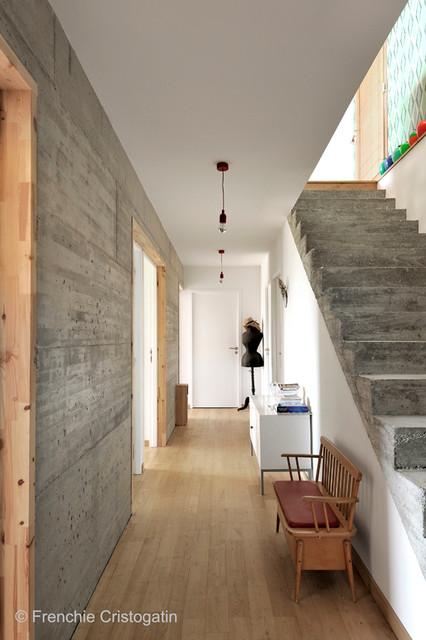 Maison Contemporaine Beton Bois ¨クレクティック Å»Šä¸‹ êヨン Fabien Perret Et Associes Architecte Houzz Ïウズ
