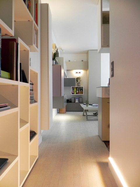Petit appartement de 40m2 cuisine entr e salon dressing contemporain couloir paris - Amenagement couloir entree ...