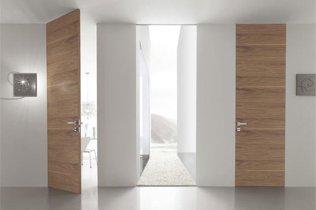 syntesis battant porte battante bois noyer contemporain couloir other metro par eclisse. Black Bedroom Furniture Sets. Home Design Ideas