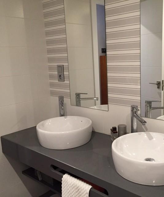 Encimeras Lavabos Baño | Cuarto De Bano En Suite Lavabos Sobre Encimera Compac Gris