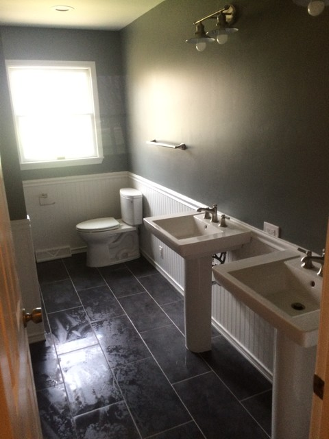 Small master bath from 1960 39 s design to modern remodel for 1960s bathroom design