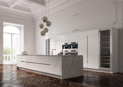 isola Marmo decorazione cucina : Cosa ne pensate di questa isola in marmo Carrara e colonne laccate?