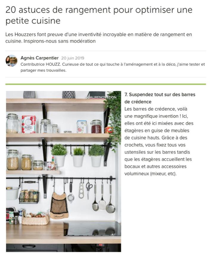 20 Juin 2019- 20 astuces de rangement pour optimiser une petite cuisine
