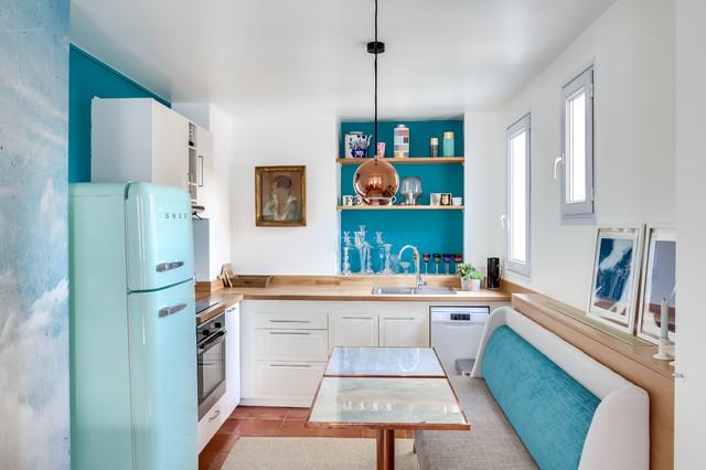 A Paris, une cuisine déco ouverte sur le séjour - Eklektisch ...
