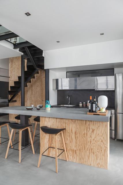 appartement bar contemporain cuisine paris par felix millory architecture. Black Bedroom Furniture Sets. Home Design Ideas