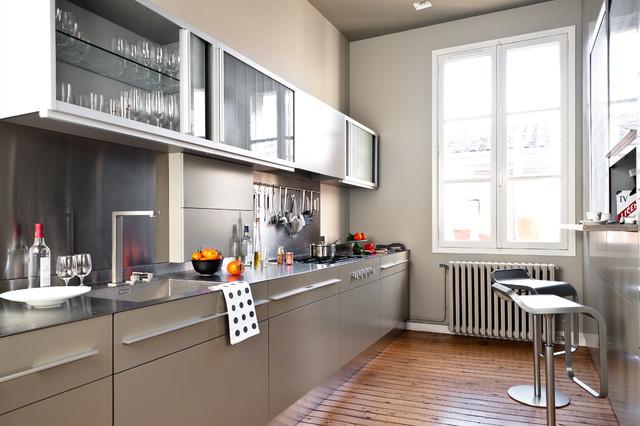 Appartement de type haussmannien - Contemporain - Cuisine ...