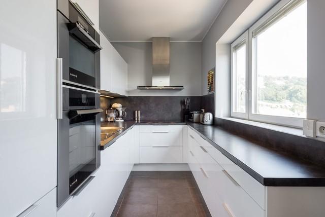 Appartement duplex lyon confluence moderne cuisine for Deco cuisine fermee