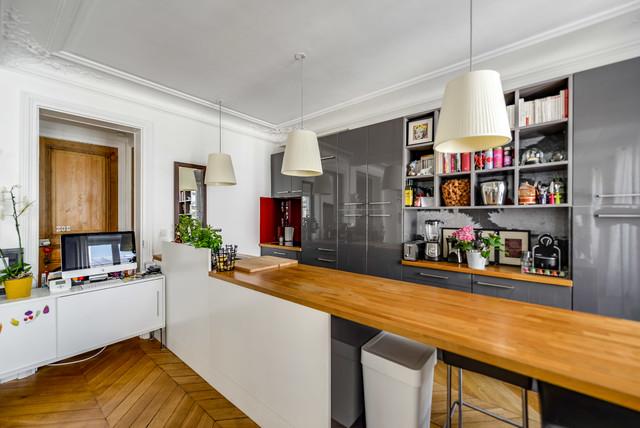 Appartement et Cuisine Ouverte - Modern - Küche - Paris ...