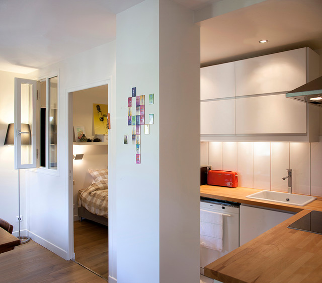 Appartement s f contemporary kitchen by estelle grosberg architecte desa - Modern appartement modern appartement ...