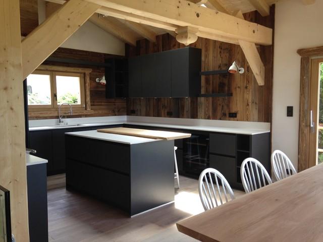 Chalet Intérieur Vieux Bois - Contemporary - Kitchen - Lyon ...