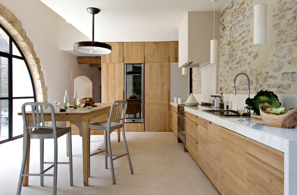 Large trendy single-wall eat-in kitchen photo in Other with flat-panel cabinets, medium tone wood cabinets and no island