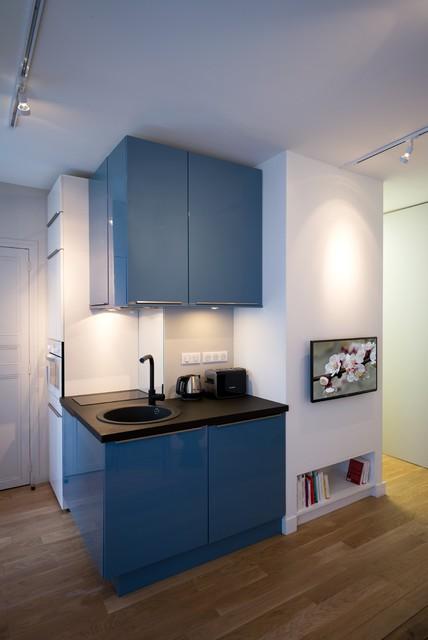 cuisine bleue blanche et noire contemporain cuisine