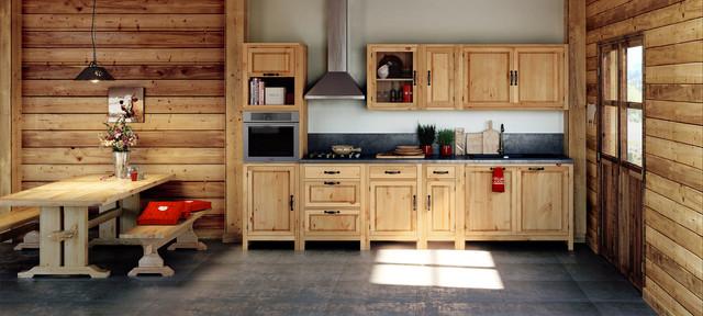 Cuisine en bois style chalet - Rustikal - Küche - Lyon - von ...