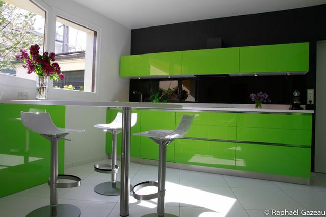cuisine laqu e vert contemporain cuisine paris par. Black Bedroom Furniture Sets. Home Design Ideas