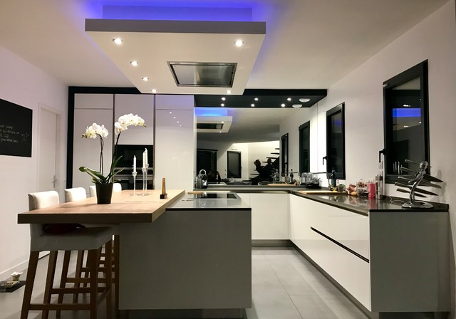 Cuisine Moderne Blanche Et Grise Contemporary Kitchen Paris