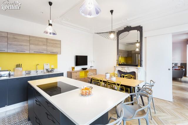 Cuisine moderne dans un appartement Haussmannien - Contemporain ...