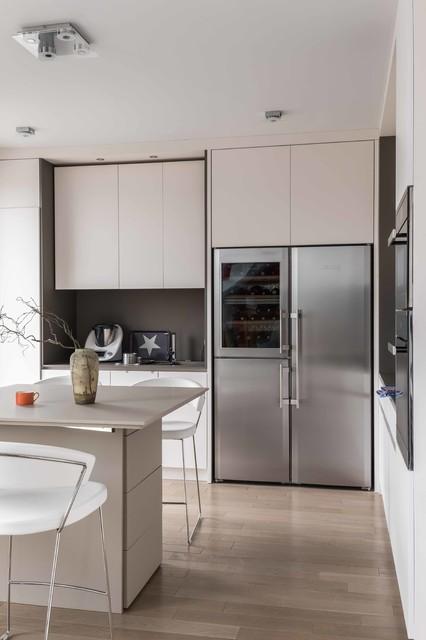 Cuisine ouverte blanche et grise contemporary kitchen paris by ms eb - Cuisine blanche et grise ...