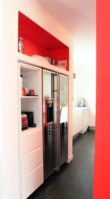cuisine rouge, blanche et noire - Contemporary - Kitchen ...