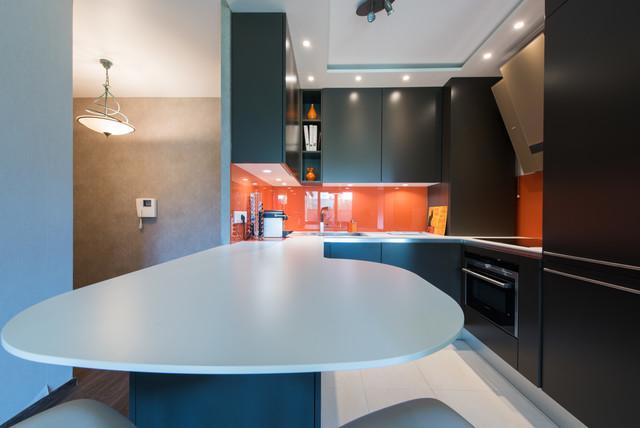 Cuisne en u ouverte sur salon et salle manger tropical kitchen paris by s verine - Cuisine ouverte sur salle a manger ...