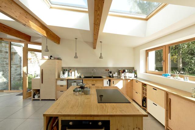 Extension Bois Contemporary Kitchen Paris By Atelier