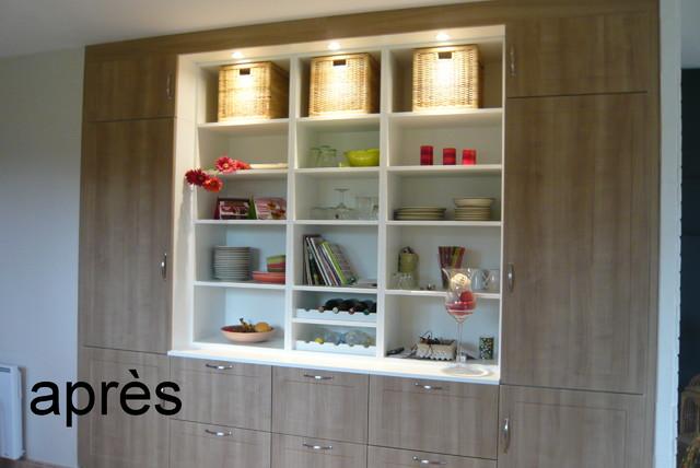 imaginer un meuble de cuisine ouvert et ferm int grant le r frig rateur. Black Bedroom Furniture Sets. Home Design Ideas